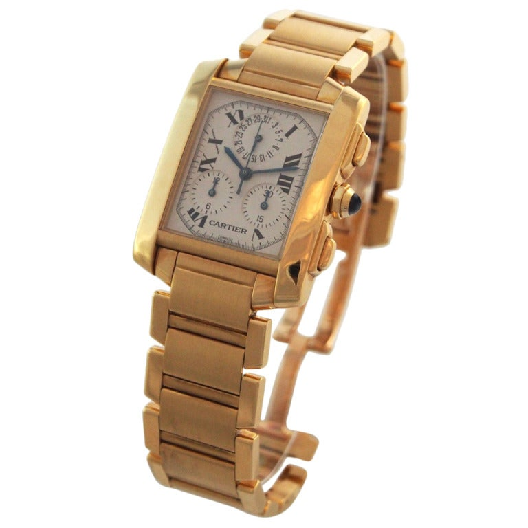Cartier Yellow Gold Tank Francaise Chronograph Bracelet Quartz Wristwatch