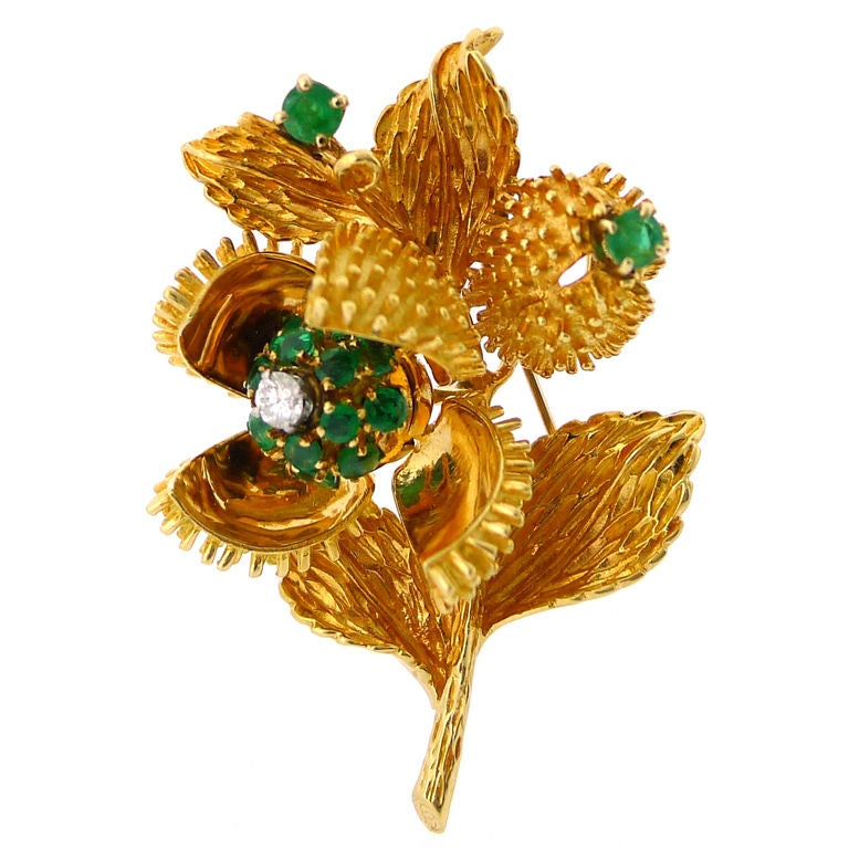 Tiffany And Co Vintage Emerald And Diamond Flower Brooch