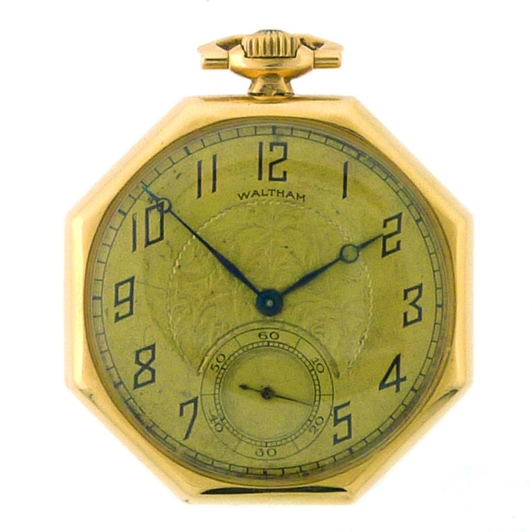 waltham yellow gold pocket octogan shaped at