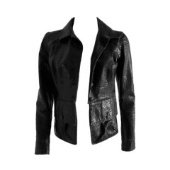 Chanel croc embossed leather Jacket/Rock at the Met