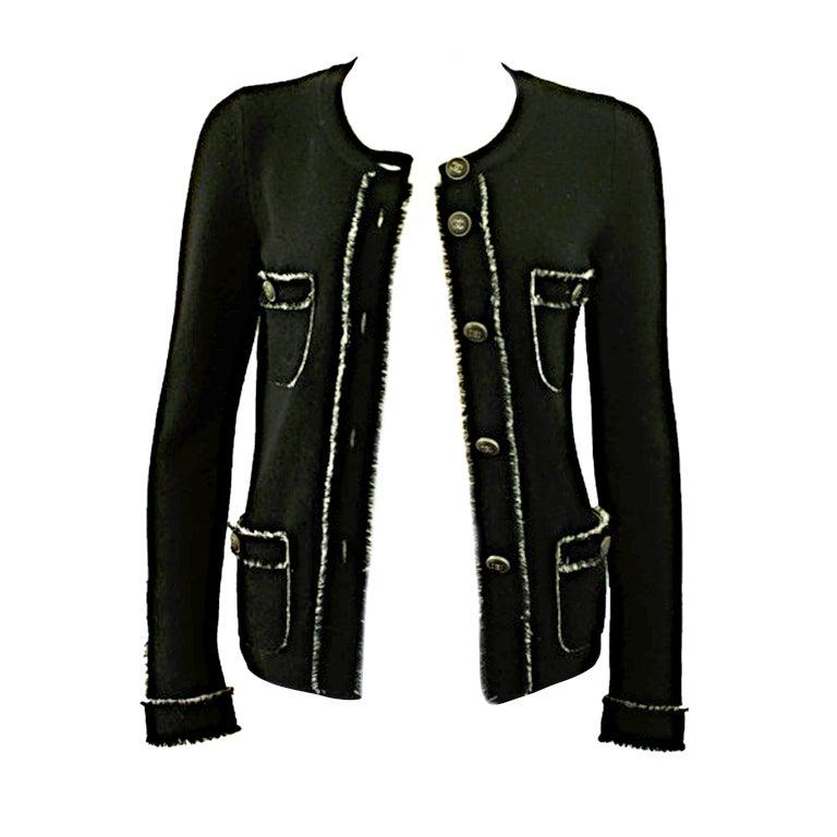 Chanel Black Cashmere Cardigan At 1stdibs