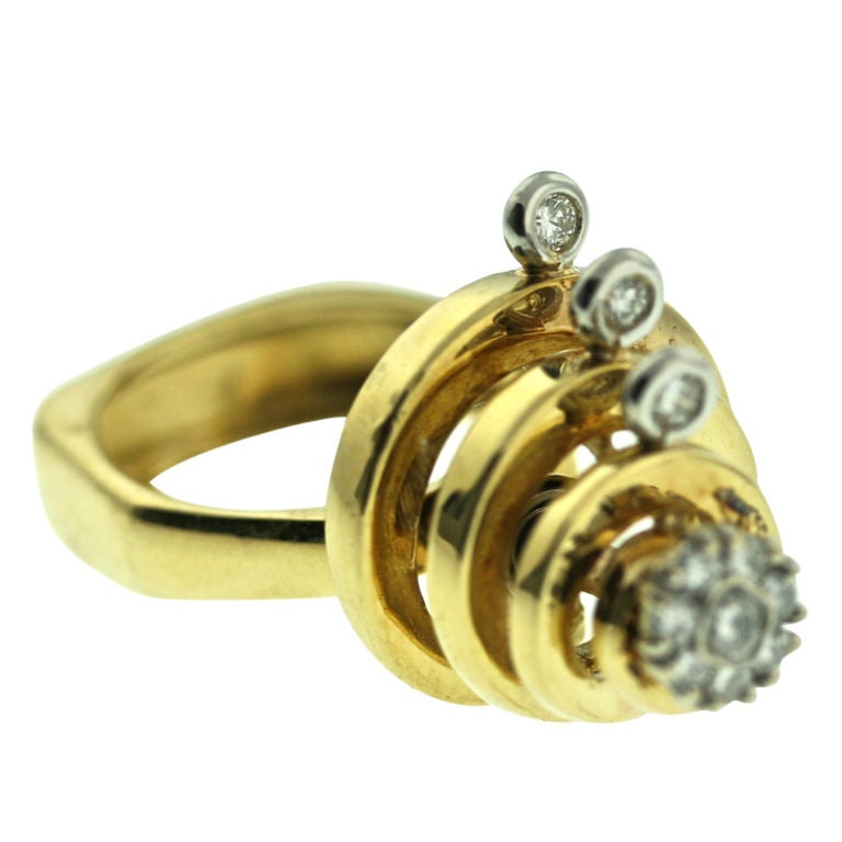 Swinging 1970s Diamond Spinning Ring At 1stdibs