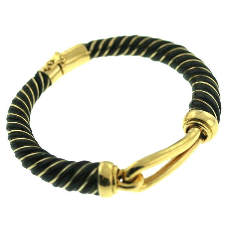 elephant hair and gold bangle bracelet