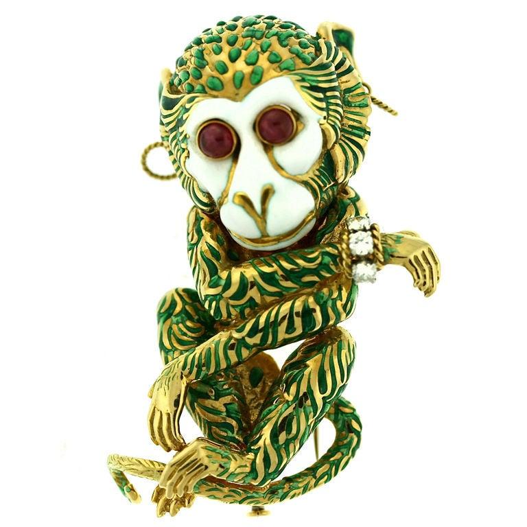 DAVID WEBB Bejeweled Enamel Monkey Brooch Clip