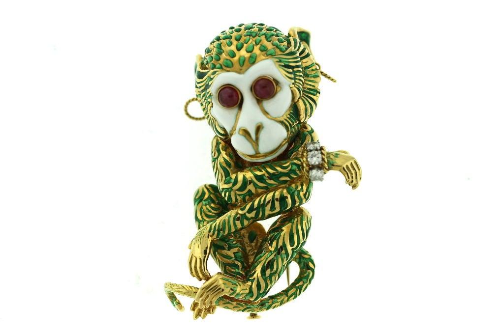 DAVID WEBB Bejeweled Enamel Monkey Brooch Clip image 2