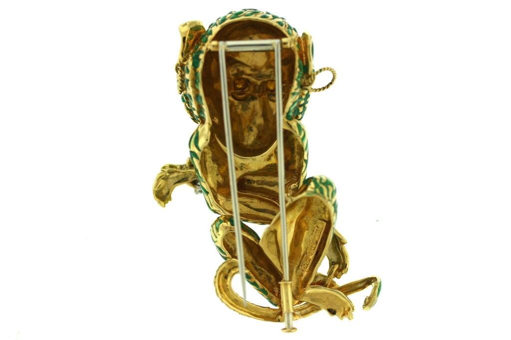 DAVID WEBB Bejeweled Enamel Monkey Brooch Clip image 3