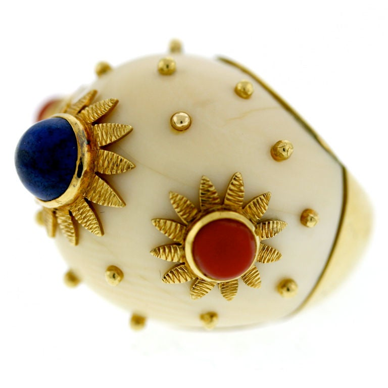 bombe jewelry 1960s stylish ivory coral and lapis bombe ring at 1stdibs 3716