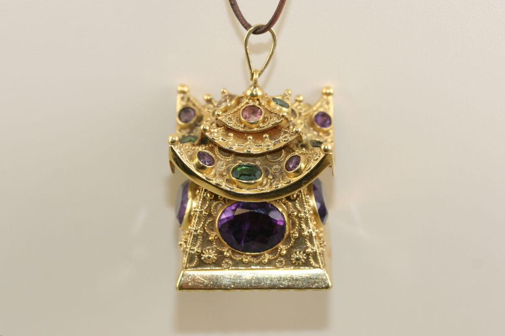 substantial 1960s gem set pagoda pendant charm at 1stdibs