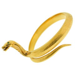 English Upper Arm Gold Cobra Bangle