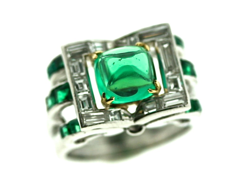 superb deco emerald and ring at 1stdibs