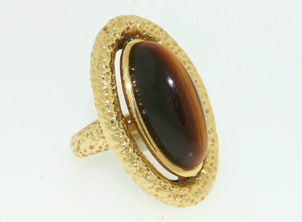 cleef and arpels 1970s tiger eye gold ring at 1stdibs
