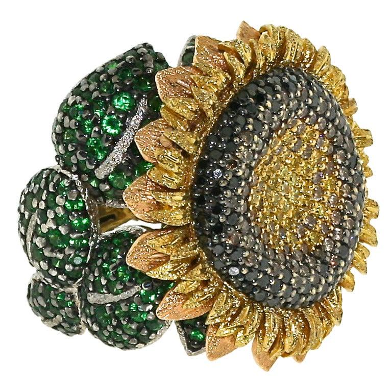 Colored Diamond And Tsavorite Garnet Sunflower Cocktail