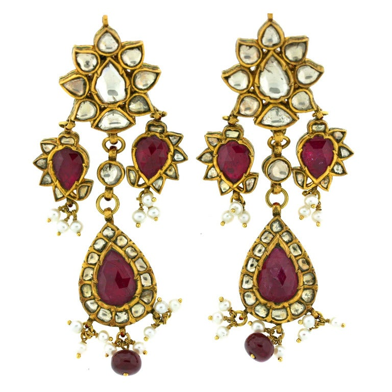 Red Diamond Chandelier Earrings: Ruby And Diamond Chandelier Earrings At 1stdibs