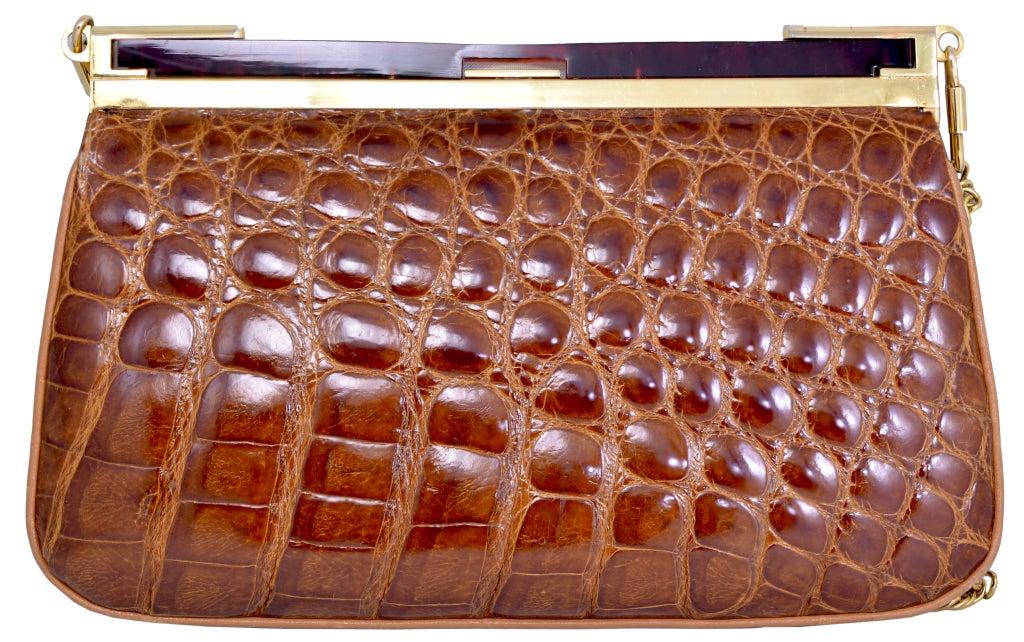 Lovely Vintage Cognac Alligator Bag/Clutch image 2