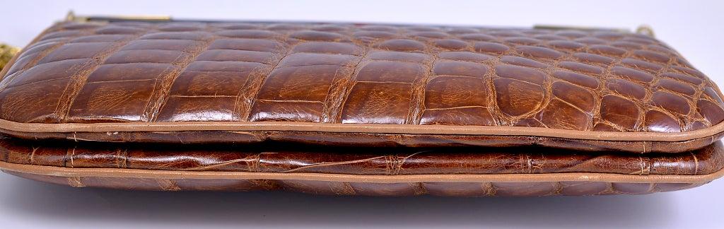 Lovely Vintage Cognac Alligator Bag/Clutch image 3