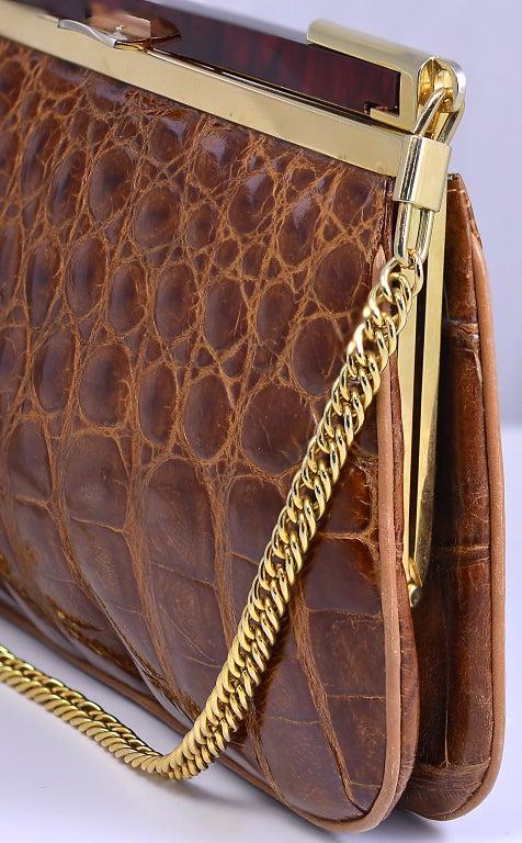 Lovely Vintage Cognac Alligator Bag/Clutch image 4