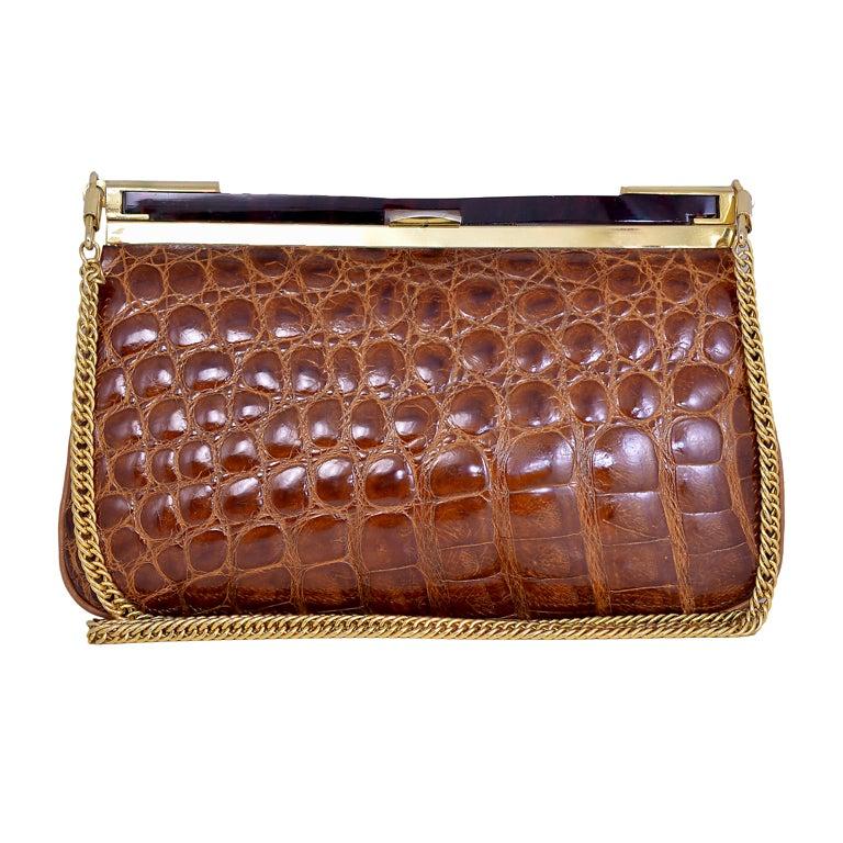 Lovely Vintage Cognac Alligator Bag/Clutch 1