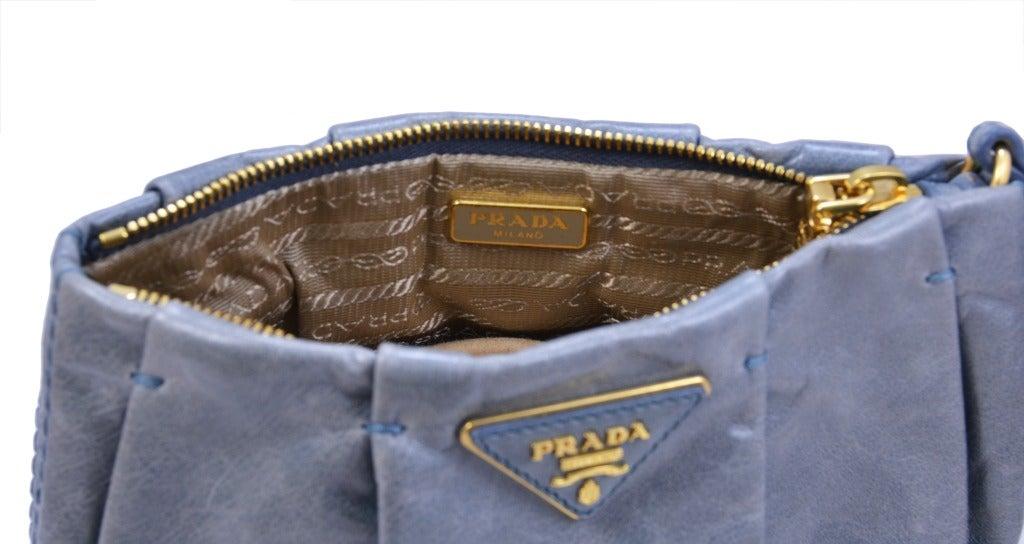 prada leather tote handbag - PRADA Light Blue Leather Clutch/Wristlet at 1stdibs