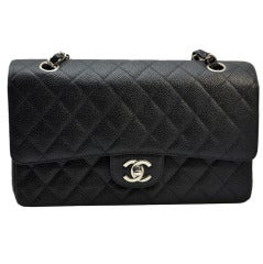 Chanel Black Caviar 2.55 Double a Flap Classic Silver Hardware