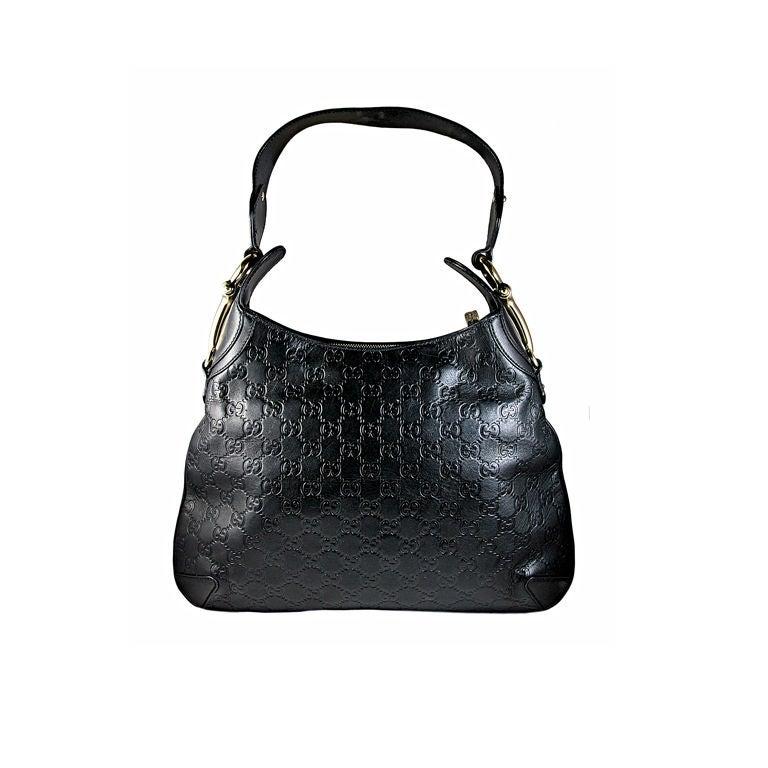 Black Leather Shoulder Bag With Gold Hardware 82