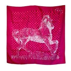 Hermes Fuschia Signature Equestrian Silk Scarf