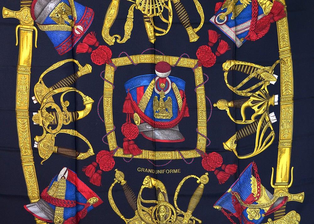"Hermes ""Grand Uniforme"" Silk Scarf 4"