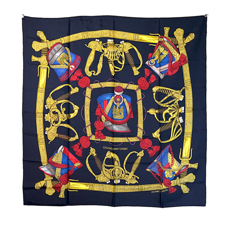 "Hermes ""Grand Uniforme"" Silk Scarf For Sale"