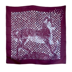Beautiful Hermes Burgundy and White Signature a Equestrian Silk Scarf