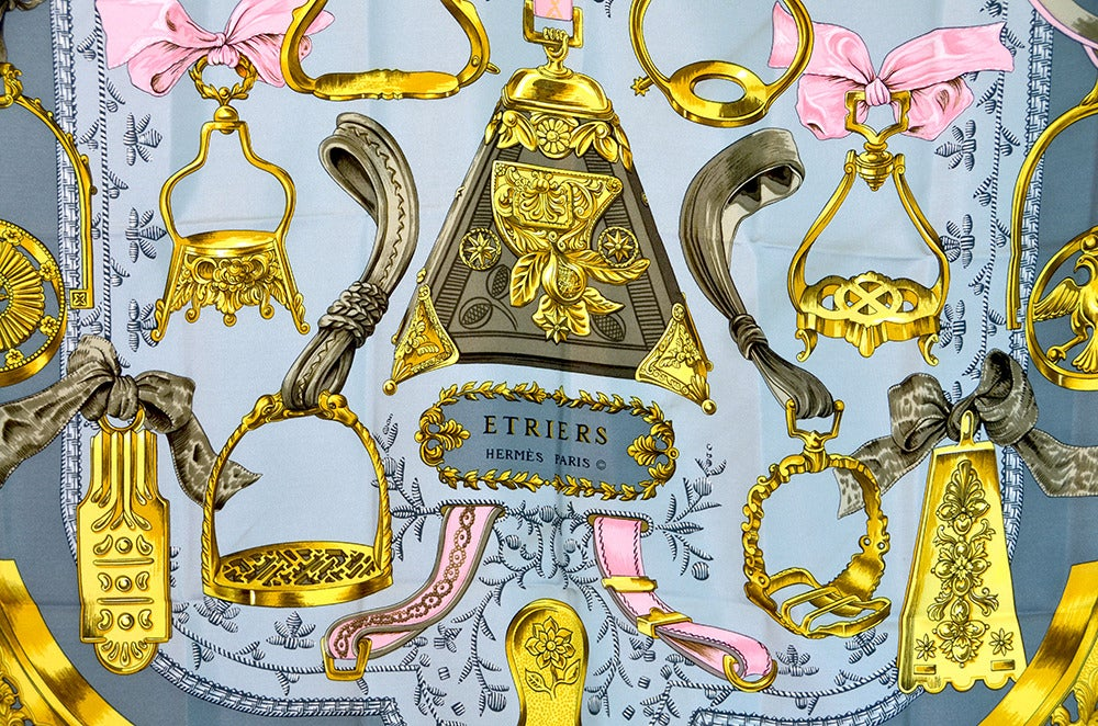 "Lovely Hermes ""Etriers"" Silk Scarf image 2"
