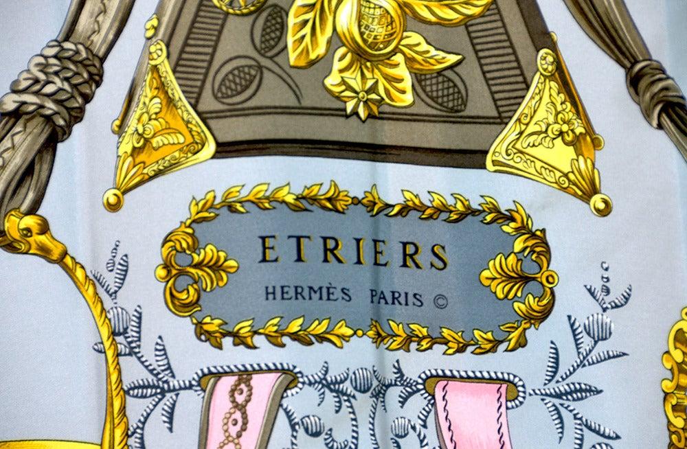 "Lovely Hermes ""Etriers"" Silk Scarf image 3"