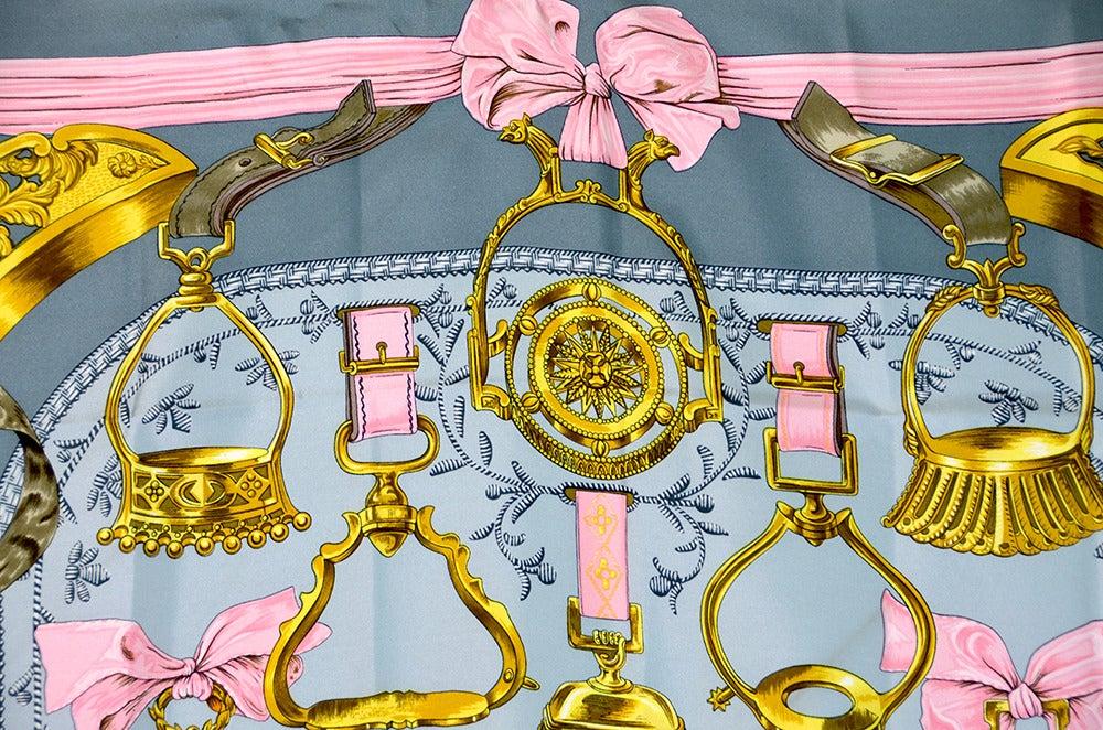 "Lovely Hermes ""Etriers"" Silk Scarf image 4"