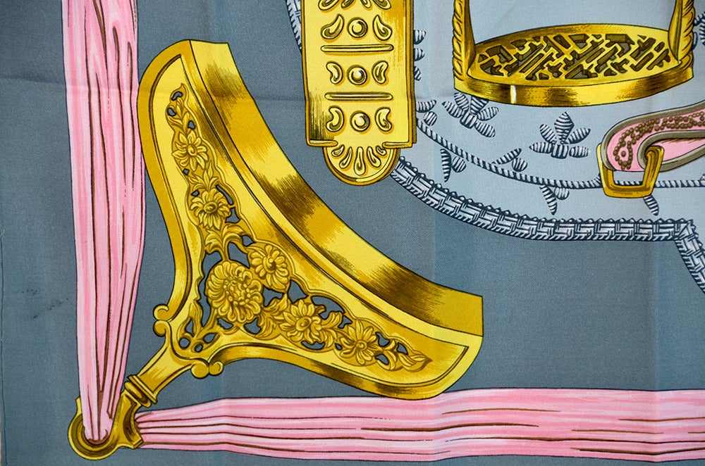 "Lovely Hermes ""Etriers"" Silk Scarf image 6"