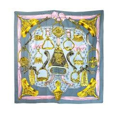 "Lovely Hermes ""Etriers"" Silk Scarf"
