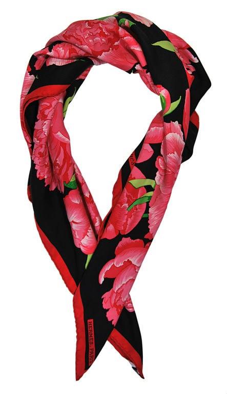 hermes peony silk scarf with box at 1stdibs