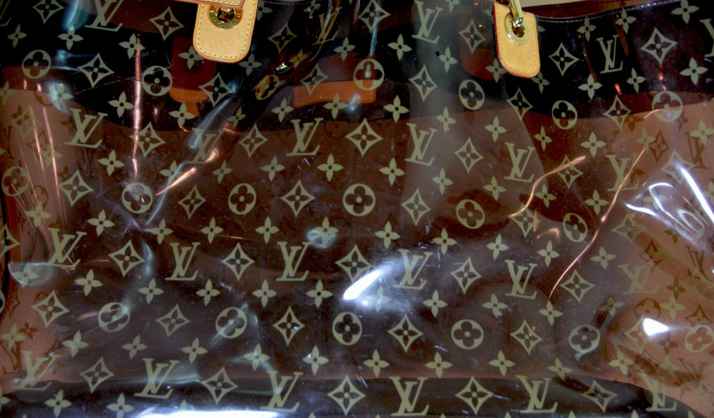 b5eeec127c65 Huge and rare Louis Vuitton tote. Limited edition tortoise shell clear  plastic with leather trim