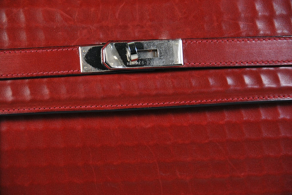 where to buy hermes bags - RARE 32cm Hermes Waffle Pattern Box Leather Brick Red Kelly Bag at ...
