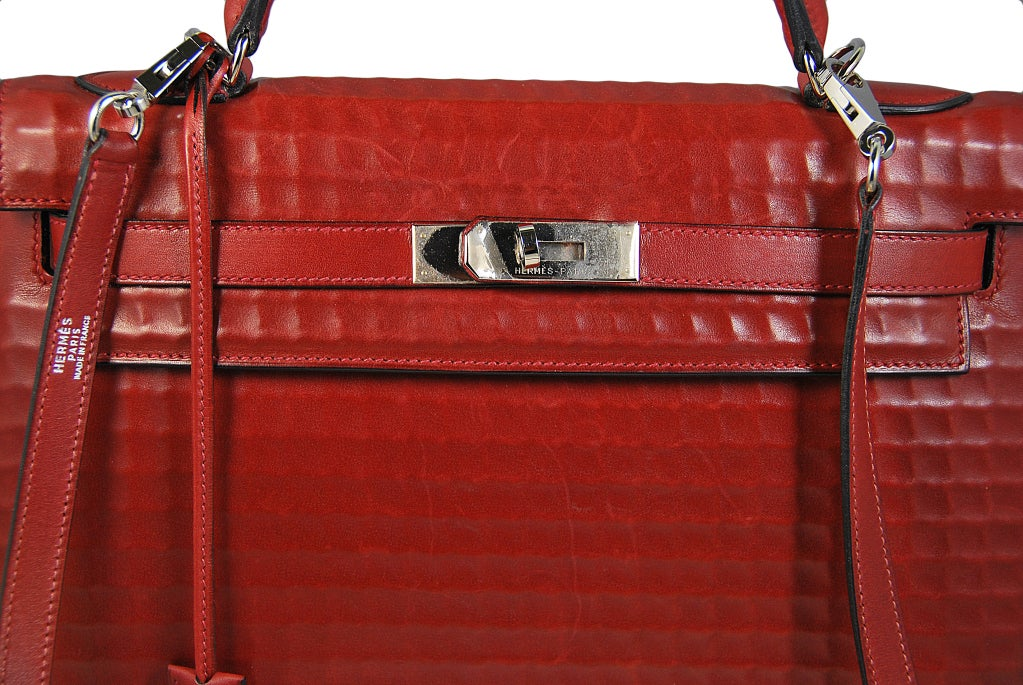 RARE 32cm Hermes Waffle Pattern Box Leather Brick Red Kelly Bag at ...