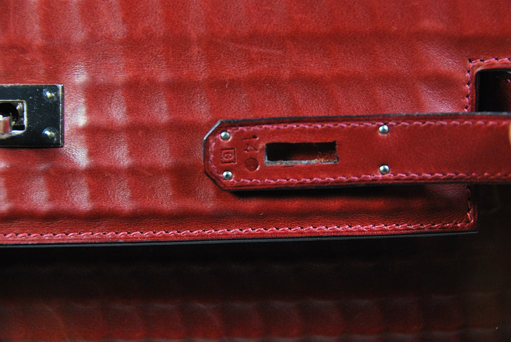 RARE 32cm Hermes Waffle Pattern Box Leather Brick Red Kelly Bag 7