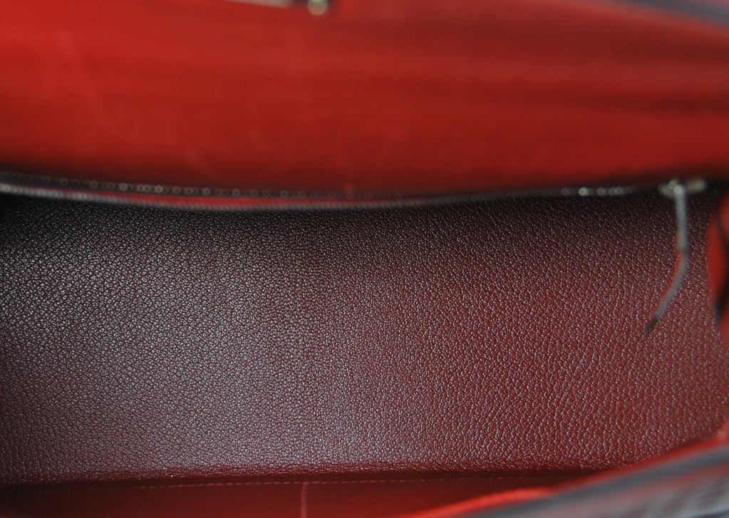 RARE 32cm Hermes Waffle Pattern Box Leather Brick Red Kelly Bag 9