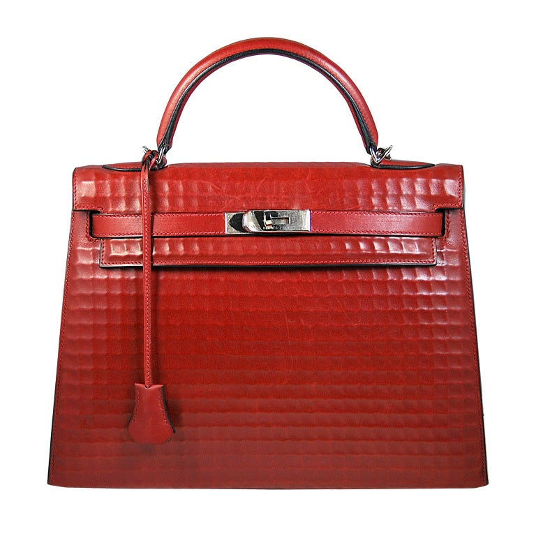 RARE 32cm Hermes Waffle Pattern Box Leather Brick Red Kelly Bag 1
