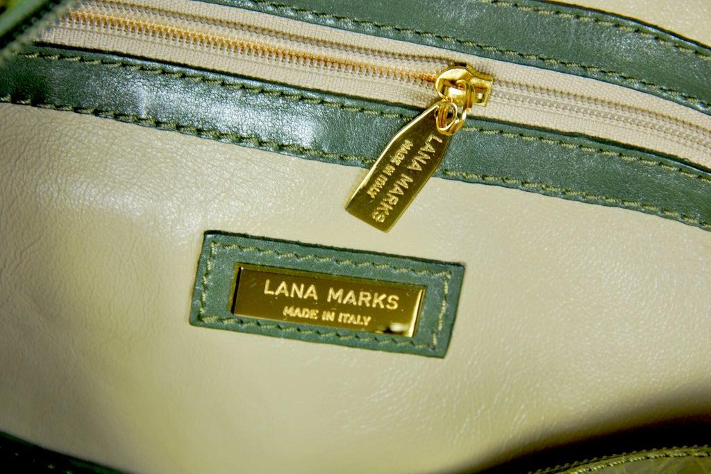 LANA MARKS Fabulous Olive Green Genuine Alligator Handbag For Sale 1