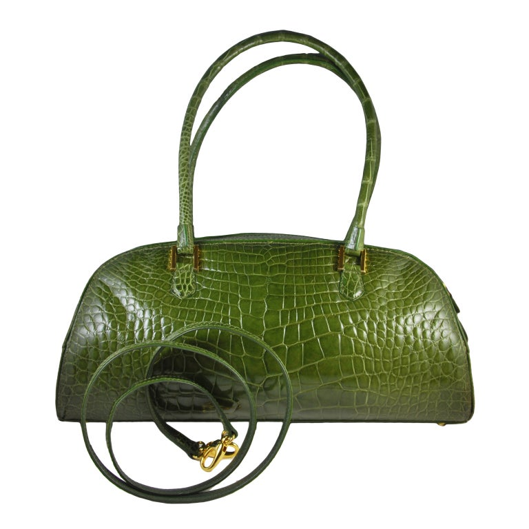 LANA MARKS Fabulous Olive Green Genuine Alligator Handbag For Sale