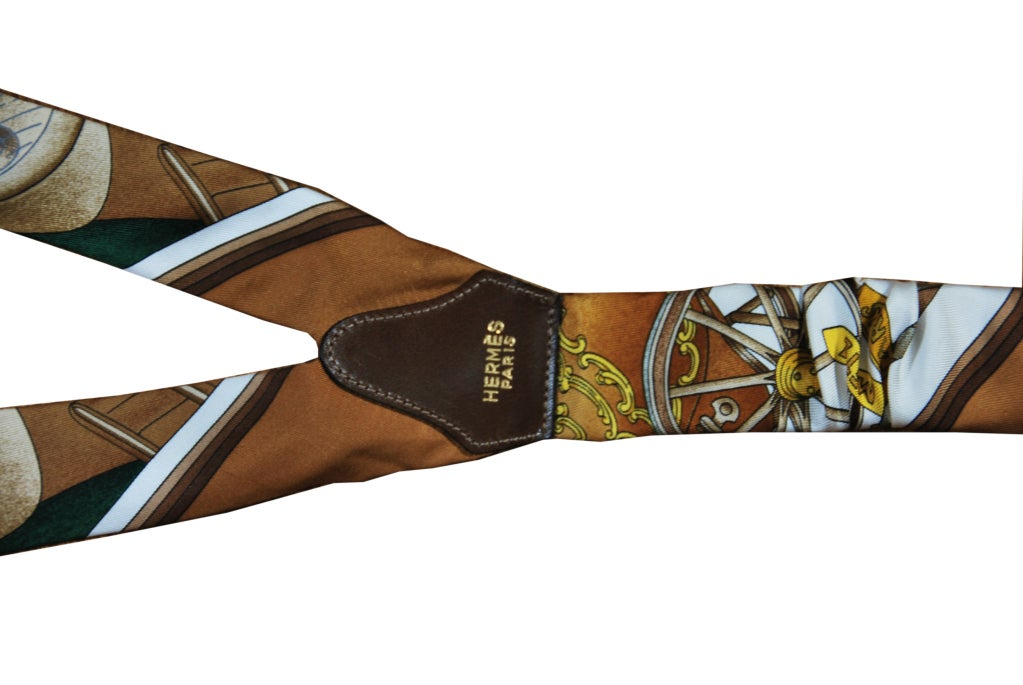 Fabulous vintage Hermes suspenders in silk and leather.  Timeless classic!