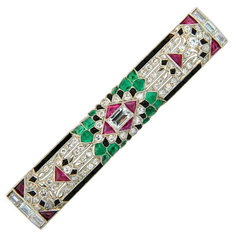 1920s Art Deco Multi Gem And Platinum Brooch At 1stdibs