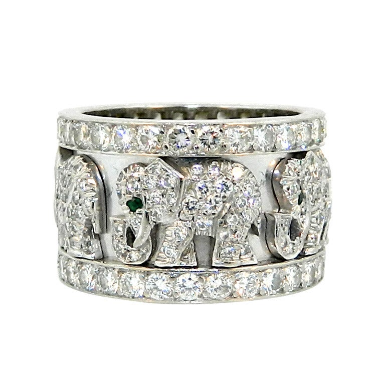 cartier emerald white gold elephant ring at