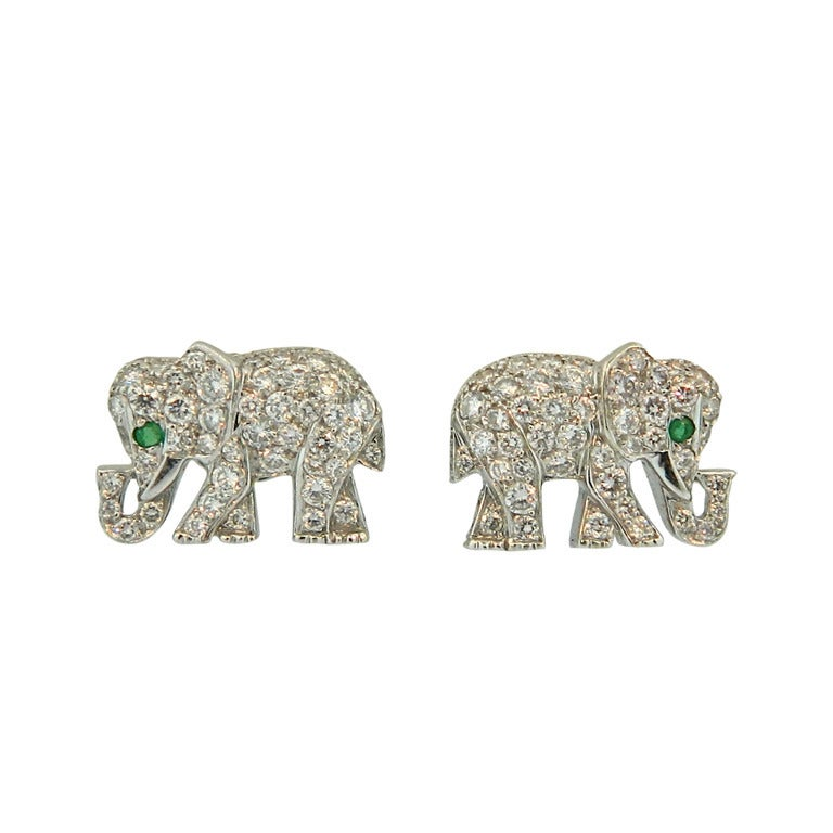 Cartier Paris Diamond Emerald And Gold Elephant Earrings