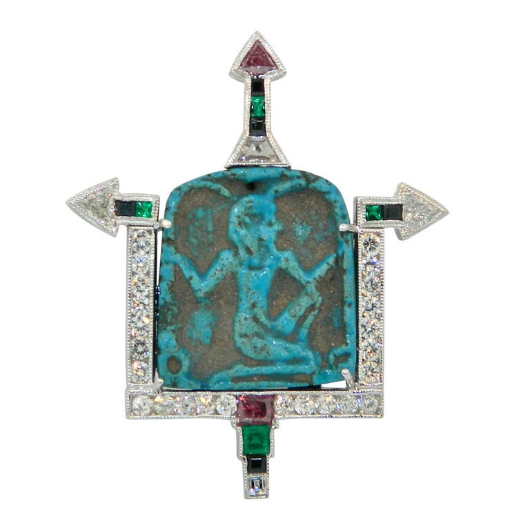 400bc Egyptian Faience Amulet Platinum Diamond Emerald