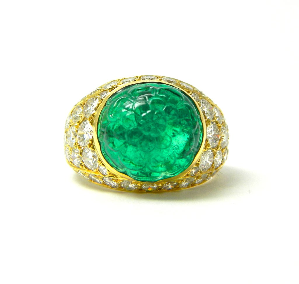 cleef and arpels carved emerald and ring at