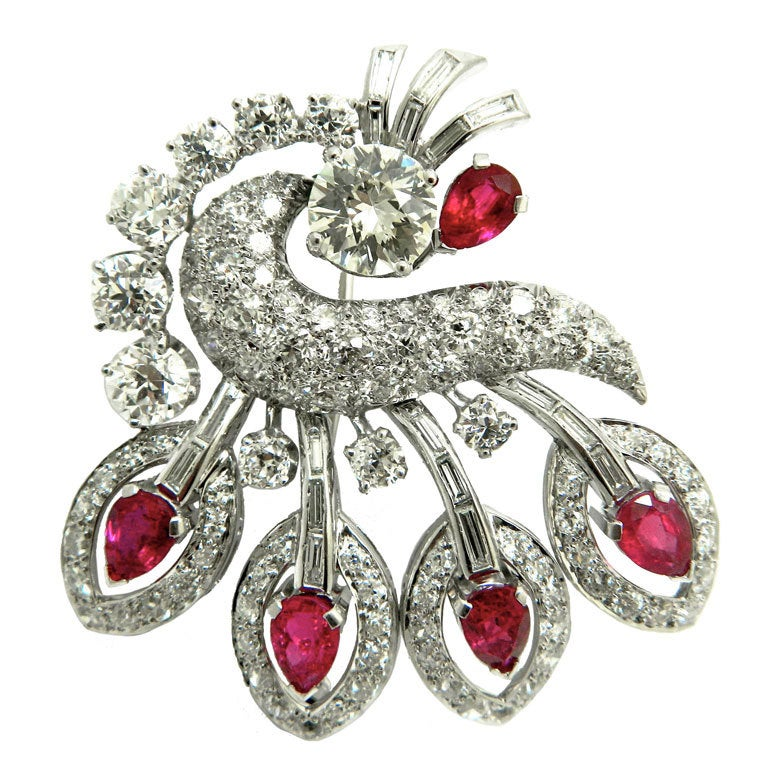 art deco ruby diamond and platinum brooch at 1stdibs