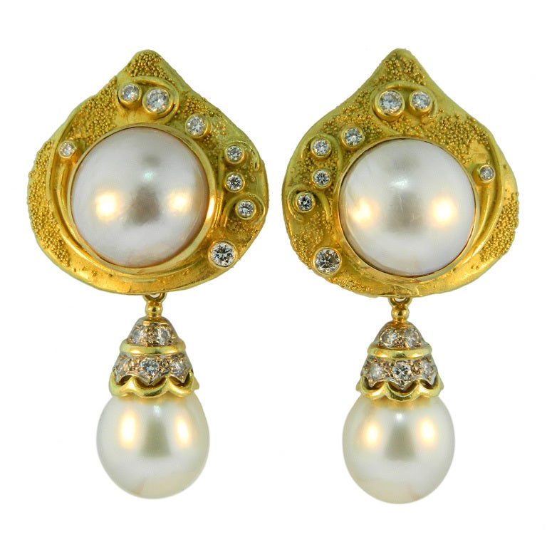 elizabeth gage gold and pearl earrings at 1stdibs